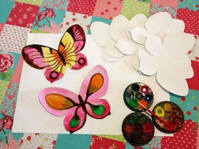 After school art classes - Butterfly art with the pink color